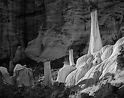 Aggregate boulders on siltstone pedastal formations, Grand Staircase-Escalante National Monument, Utah