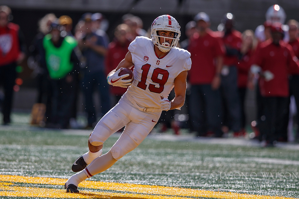 BERKELEY, CA - DECEMBER 01: Wide receiver JJ Arcega-Whiteside #19 of the Stanford Cardinal rushes up field after a pass reception against the California Golden Bears during the first quarter at California Memorial Stadium on December 1, 2018 in Berkeley, California. The Stanford Cardinal defeated the California Golden Bears 23-13. (Photo by Jason O. Watson/Getty Images) *** Local Caption *** JJ Arcega-Whiteside