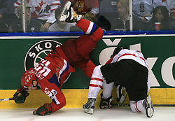 Sergei Zinoviev (42) of Russia and Shane Doan (19) of Canada at  ice-hockey game Canada vs Russia at finals of IIHF WC 2008 in Quebec City,  on May 18, 2008, in Colisee Pepsi, Quebec City, Quebec, Canada. Win of Russia 5:4 and Russians are now World Champions 2008. (Photo by Vid Ponikvar / Sportal Images)