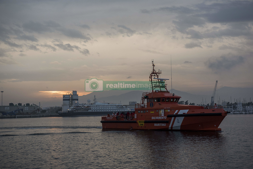 April 25, 2018 - Motril, GRANADA, Spain - Polimnia rescue boat  arrives to the Motril port. 37 people were rescued from a rubber boat in Mediterranean Sea and brought to Motril port. (Credit Image: © Carlos Gil/SOPA Images via ZUMA Wire)
