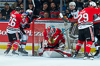KELOWNA, BC - FEBRUARY 8: Joel Hofer #30 of the Portland Winterhawks makes a second period save against the Kelowna Rockets at Prospera Place on February 8, 2020 in Kelowna, Canada. Hofer was selected in the 2018 NHL entry draft by the St. Louis Blues and is a IIHF World Junior Championship gold medalist. (Photo by Marissa Baecker/Shoot the Breeze)