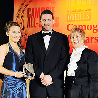 8 November 2008; Carina Roseingrave, of Clare, is presented with her Munster Young Camogie Player of the Year Award by President of the Camogie Association Liz Howard and Guest of Honour - Tipperary hurler - Brendan Cummins. Camogie All-Star Awards 2008 in association with OíNeills, Citywest Hotel, Conference, Leisure & Golf Resort, Dublin. Picture credit: Ray McManus / SPORTSFILE *** NO REPRODUCTION FEE ***