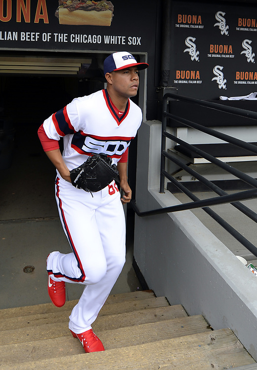 CHICAGO - APRIL 09:  Jose Quintana #62 of the Chicago White Sox runs out of the dugout prior to the game against the Minnesota Twins on April 9, 2017 at Guaranteed Rate Field in Chicago, Illinois.  (Photo by Ron Vesely)   Subject:  Jose Quintana