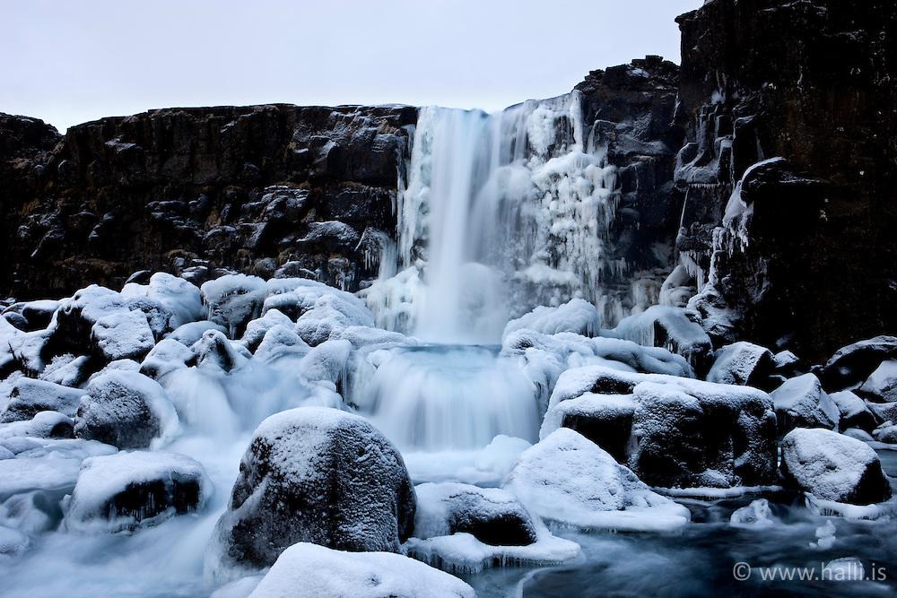Ice at the waterfall, Oxararfoss in Thingvellir, Iceland - Öxarárfoss að vetri til