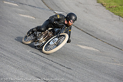 Matt Harris' on his 40 Cal 1923 Harley-Davidson Model-J racer at Billy Lane's Sons of Speed vintage motorcycle racing during Biketoberfest. Daytona Beach, FL, USA. Saturday October 21, 2017. Photography ©2017 Michael Lichter.