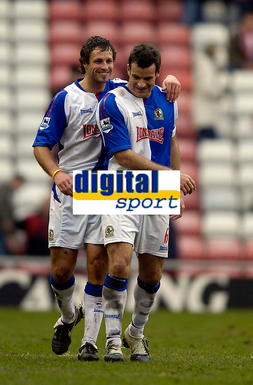 Photo: Jed Wee.<br />Sunderland v Blackburn Rovers. The Barclays Premiership. 25/03/2006.<br /><br />Blackburn's Australian right back Lucas Neill (L) celebrates with New Zealander Ryan Nelson at the end of the game.