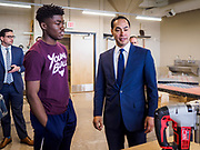15 APRIL 2019 - DES MOINES, IOWA: JULIÁN CASTRO (right) talks to student PRINCE JELLEH during Castro's visit to the Central Campus Skilled Trades Alliance at the Des Moines Public School's Central Campus Monday. Castro is on his third visit to Iowa since declaring his candidacy for the Democratic ticket of the US Presidency. Casto talked to students and administrators about skilled trades education and toured the campus. Iowa traditionally hosts the the first selection event of the presidential election cycle. The Iowa Caucuses will be on Feb. 3, 2020.                PHOTO BY JACK KURTZ