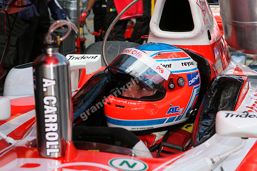 Adam Carroll with helmet in GP2 before the 2007 European Grand Prix at the Nurburgring. Photo: Grand Prix Photo