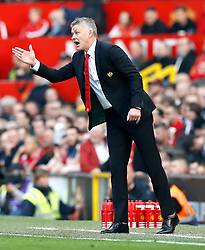Manchester United caretaker manager Ole Gunnar Solskjaer gestures from the touchline during the Premier League match at Old Trafford, Manchester.