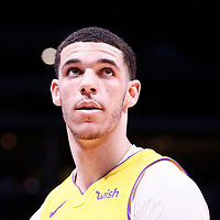 09 March 2018: Los Angeles Lakers guard Lonzo Ball (2) is seen during the Denver Nuggets125-116 victory over the Los Angeles Lakers, at the Pepsi Center, Denver, Colorado, USA.