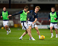 06/10/2020: Dundee FC train at Kilmac Stadium after their Betfred Cup match against Forfar Athletic was postponed due to a positive COVID test result for one of the Forfar players: Danny Strachan challenges for the ball with Cammy Blacklock<br /> <br /> <br />  :©David Young: davidyoungphoto@gmail.com: www.davidyoungphoto.co.uk