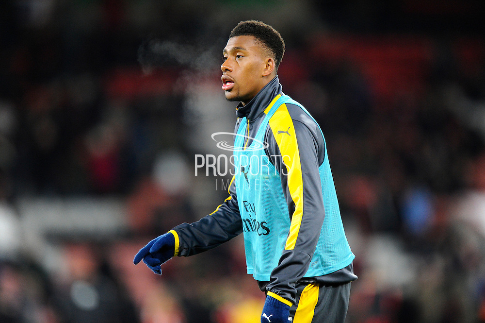 Alex Iwobi (17) of Arsenal warming up during the Premier League match between Bournemouth and Arsenal at the Vitality Stadium, Bournemouth, England on 3 January 2017. Photo by Graham Hunt.