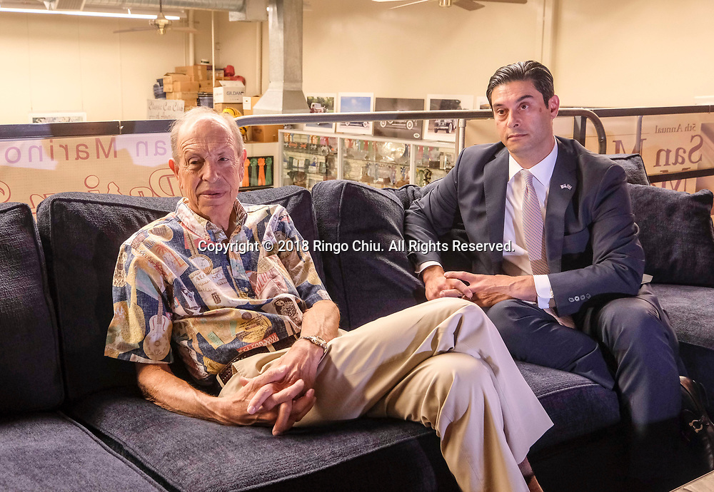 Aaron Weiss, left, an ultra-wealthy car collector in San Marino,  and David Adishian, Wealth Management Advisor. (Photo by Ringo Chiu)<br /> <br /> Usage Notes: This content is intended for editorial use only. For other uses, additional clearances may be required.