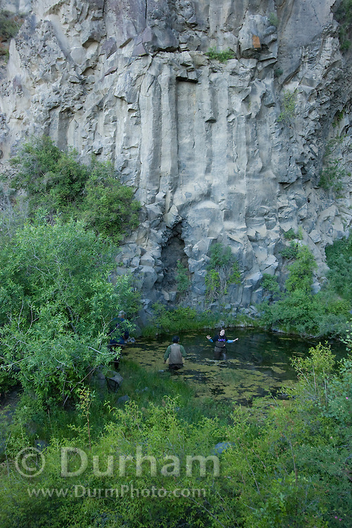 Biologists from several state and federal agencies prepare to set-up mist nets across a pond to capture bats after nightfall. The bat survey will help determine species that use the basalt cliffs at The Nature Cosnervancy's Dutch Henry Falls preserve in central Washington.