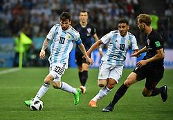 NIZHNY NOVGOROD, June 21, 2018  Lionel Messi (L) of Argentina breaks through with the ball during the 2018 FIFA World Cup Group D match between Argentina and Croatia in Nizhny Novgorod, Russia, June 21, 2018. (Credit Image: © Li Ga/Xinhua via ZUMA Wire)
