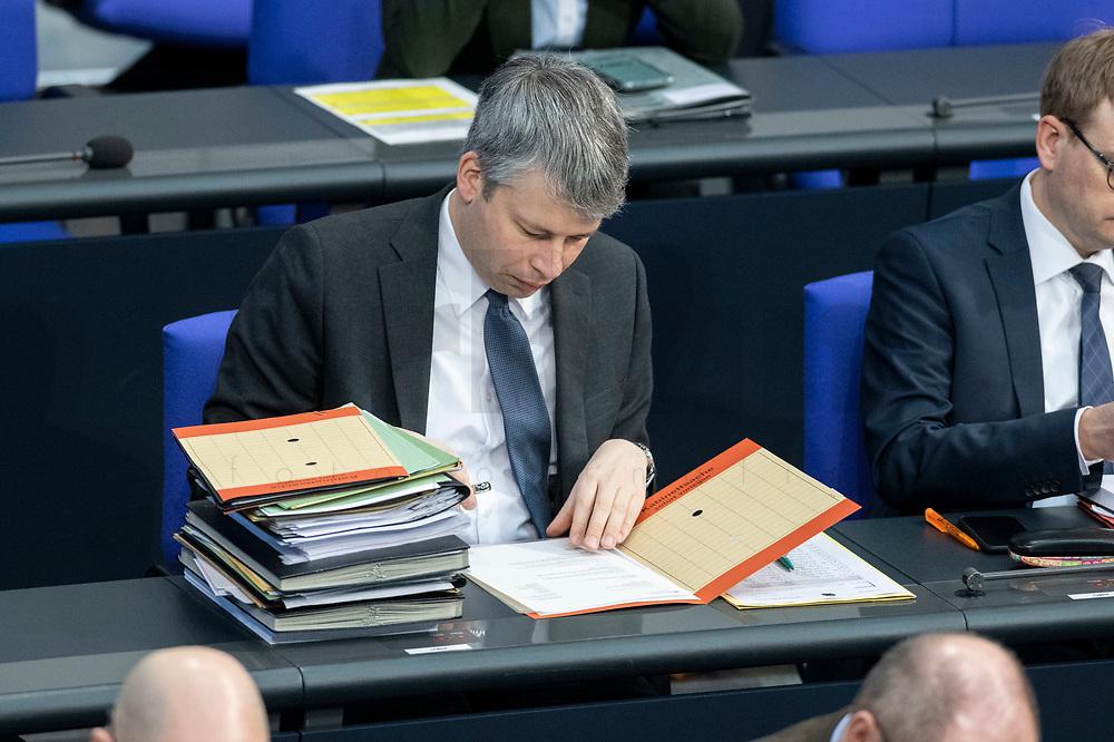 13 FEB 2020, BERLIN/GERMANY:<br /> Steffen Bilger, CSU, Parl. Staatssekretaer im Bundesverkehrsministerium, Sitzung des Deutsche Bundestages, Plenum, Reichstagsgebaeude<br /> IMAGE: 20200213-01-011