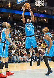 July 6, 2018 - Oakland, CA, U.S. - OAKLAND, CA - JULY 06:Cuttino Mobley (5) co-captain of Power goes for a lay up during game 3 in week three of the BIG3 3-on-3 basketball league on Friday, July 6, 2018 at the Oracle Arena in Oakland, CA  (Photo by Douglas Stringer/Icon Sportswire) (Credit Image: © Douglas Stringer/Icon SMI via ZUMA Press)