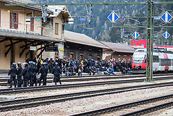 """07.05.2016, Grenzübergang, Brenner, ITA, Demonstration gegen Grenzsicherungsmaßnahmen am Brenner. Linksaktivisten rufen unter dem Motto """"Tag des Kampfes"""" zur Demonstration am Brenner auf, im Bild Demonstranten Formieren sich am Bahnhof // Demonstrators transforming at the station, Left activists call under the slogan """"Day of the Fight"""" to Demonstration at the border """"Brenner"""". The demonstration is directed against the planned border security measures at the border from Italy to Austria, The Brenner Pass is one of the most important border crossings in Europe. Brenner, Italy on 2016/05/07. EXPA Pictures © 2016, PhotoCredit: EXPA/ Johann Groder"""