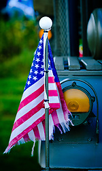 Biggar Classic Vehicle Rally 2017The 44th Biggar Vintage Vehicle Rally held in Biggar on 13th August 2017.  American flag on a vintage military vehicle.<br /> <br /> (c) Andrew Wilson | Edinburgh Elite media