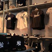 Yankee t-shirts for sale at the Yankees store at Yankee Stadium, The Bronx, during the New York Yankees V Detroit Tigers Baseball game at Yankee Stadium, The Bronx, New York. 28th April 2012. Photo Tim Clayton
