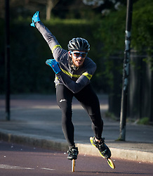 © Licensed to London News Pictures. 29/03/2020. London, UK. A man rollerblading around Regents Park, London in the early morning sun, during a lockdown over the Coronavirus spread. Members of the public have been told they can only leave their homes to exercise briefly once a day, and to go to shops for essentials when absolutely necessary, in an attempt to fight the spread of COVID-19. Photo credit: Ben Cawthra/LNP