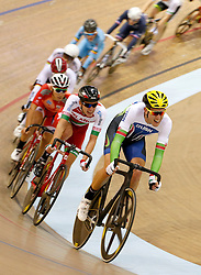 Wales' Jonathan Mould (right) during the Men's Scratch Race during day two of the UCI Track Cycling World Cup at the Sir Chris Hoy Velodrome, Glasgow.