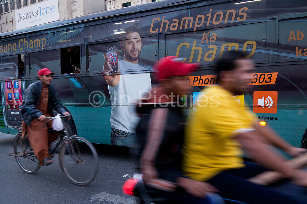 Pakistan National Cricket team captain Shahid Afridi graces billboards and buses all over Pakistan as one of its big Cricket stars for the 2011 ICC World Cricket Cup, Lahore, to be held in Sri Lanka, Bangladesh and India.