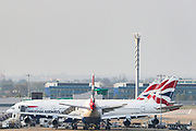 April 8, 2020, London, England, United Kingdom: British Airways aircraft fleet is seen parked at London Heathrow airport on Wednesday, April 8, 2020 - where they are expected to remain after the airline reduced flights amid travel restrictions and a huge drop in demand as a consequence of the coronavirus pandemic outbreak in Britain. The airliner is to suspend more than 30,000 staff, from cabin crew to ground staff, engineers and head office employees, until the end of May under the government furlough scheme for companies hit by the coronavirus pandemic. (Credit Image: © Vedat Xhymshiti/ZUMA Wire)