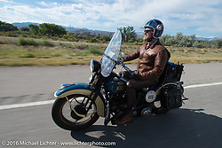 Paul D'Orleans riding Bryan Bossier's 1933 Brough Superior 11-50 near Grand Junction, Colorado during Stage 10 (278 miles) of the Motorcycle Cannonball Cross-Country Endurance Run, which on this day ran from Golden to Grand Junction, CO., USA. Monday, September 15, 2014.  Photography ©2014 Michael Lichter.