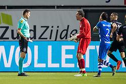 (L-R) referee Pol van Boekel, goalkeeper Diederik Boer of PEC Zwolle, Bram van Polen of PEC Zwolle during the Dutch Eredivisie match between PEC Zwolle and FC Groningen at the MAC3Park stadium on September 30, 2017 in Zwolle, The Netherlands