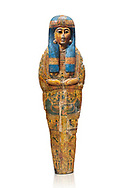 Ancient Egyptian sarcophagus inner coffin of  singer Tabakenkhonsu, Temple of Hatshepsut at Deir el-Bahri. Thebes, 2nd half of 21st Dynasty, 680–670 B.C. Egyptian Museum, Turin. white background.<br /> <br /> The deceased is depicted with her hands rendered in high relief on top of a wesekh collar. a stylistic trait that allows the coffin to be dated from the late 21st Dynsaty. the inner coffin is of great quality depicting mythological scenes derived from the Book of the Dead spells. .<br /> <br /> If you prefer to buy from our ALAMY PHOTO LIBRARY  Collection visit : https://www.alamy.com/portfolio/paul-williams-funkystock/ancient-egyptian-art-artefacts.html  . Type -   Turin   - into the LOWER SEARCH WITHIN GALLERY box. Refine search by adding background colour, subject etc<br /> <br /> Visit our ANCIENT WORLD PHOTO COLLECTIONS for more photos to download or buy as wall art prints https://funkystock.photoshelter.com/gallery-collection/Ancient-World-Art-Antiquities-Historic-Sites-Pictures-Images-of/C00006u26yqSkDOM