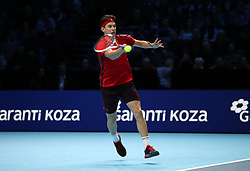 Dominic Thiem in action during his singles match against Grigor Dimitrov during day two of the NITTO ATP World Tour Finals at the O2 Arena, London. PRESS ASSOCIATION Photo. Picture date: Monday November 13, 2017. Photo credit should read: John Walton/PA Wire. RESTRICTIONS: Editorial use only, No commercial use without prior permission