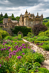 Exterior view of walled garden at Abbotsford House and gardens in Melrose , Scottish Borders, Scotland, UK