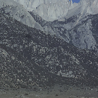 Tom Possert approaches Mount Whitney after race from Death Valley.