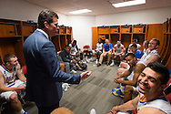 21 MAR 2015: Coach Steve Alford addresses the the University of California - Los Angeles team in the locker room following their victory over the University of Alabama - Birmingham during the 2015 NCAA Men's Basketball Tournament held at the KFC Yum! Center in Louisville, KY. UCLA defeated UAB 92-75. Brett Wilhelm/NCAA Photos
