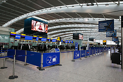 © Licensed to London News Pictures. 09/09/2019. London, UK. The self-service check in desks at Heathrow Terminal 5 departures are completely empty as tens of thousands of British Airways passengers face disruption on the first day of the two days first-ever strike staged by British Airways pilots dispute over pay. British Airways had requested its passengers that they were unlikely to travel and to make alternative arrangements prior to the strike action. Photo credit: Dinendra Haria/LNP