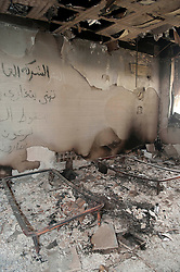 © under license to London News Pictures. 24/02/2011. A destroyed guest bedroom in the palace of Ayesha Gaddafi, Muarmmar Gaddafi's daughter, at her place in Benghazi, Libya. Photo credit should read Michael Graae/London News Pictures