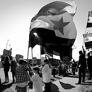 Protest in Kansas City, Missouri on Sunday, February 26, 2012 against the government of Syria led by Bashar Al-Assad.