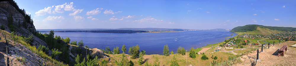 "Panorama of Volga river in summer, as seen from the Zhiguli mountains of the National Park ""Samara Luka"""