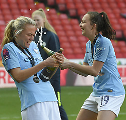 February 23, 2019 - Sheffield, England, United Kingdom - Champagne celebrations for Manchester City players       during the  FA Women's Continental League Cup Final  between Arsenal and Manchester City Women at the Bramall Lane Football Ground, Sheffield United FC Sheffield, Saturday 23rd February. (Credit Image: © Action Foto Sport/NurPhoto via ZUMA Press)
