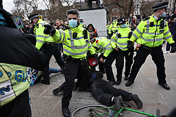 © Licensed to London News Pictures. 03/04/2021. London, UK. Protesters at a Kill the Bill protest in London. Protests have been held across the UK in opposition to the Police, Crime, Sentencing and Courts Bill which would broaden police powers when dealing with protests. Photo credit: Rob Pinney/LNP