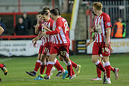 Accrington Stanley players celebrate Adam Buxton (Accrington Stanley) scoring the opening goal during the Sky Bet League 2 match between Accrington Stanley and Hartlepool United at the Fraser Eagle Stadium, Accrington, England on 19 January 2016. Photo by Mark P Doherty.