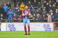 Rory McArdle of Scunthorpe United (23) urges his team after going 2-0 down during the EFL Sky Bet League 1 match between Scunthorpe United and Bradford City at Glanford Park, Scunthorpe, England on 27 April 2019.