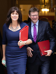 © Licensed to London News Pictures. 04/09/2018. London, UK. Minister of State for Energy and Clean Growth Claire Perry and Secretary of State for Business, Energy and Industrial Strategy Greg Clarke leave Downing Street after attending a Cabinet meeting this morning. Photo credit : Tom Nicholson/LNP