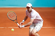 Guido Pella of Argentina in action during his Men's Singles match, round of 64, against Jannik Sinner of Italy on the Mutua Madrid Open 2021, Masters 1000 tennis tournament on May 4, 2021 at La Caja Magica in Madrid, Spain - Photo Oscar J Barroso / Spain ProSportsImages / DPPI / ProSportsImages / DPPI