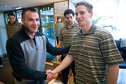 Dejan Zavec, Jakob Milovanovic and Ales Music at meeting of Slovenian Ice-Hockey National team and boxer Dejan Zavec - Jan Zaveck alias Mister Simpatikus, on April 15, 2010, in Hotel Lev, Ljubljana, Slovenia.  (Photo by Vid Ponikvar / Sportida)