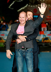 Eddie Edwards and Hugh Jackman at the European Premiere of Eddie the Eagle, London, Britain, 17.03.2016, 17.03.2016. EXPA Pictures © 2016, PhotoCredit: EXPA/ Photoshot/ James Shaw/Photoshot<br /> <br /> *****ATTENTION - for AUT, SLO, CRO, SRB, BIH, MAZ, SUI only*****