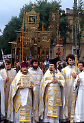 Russian Orthodox priests lead a procession during a blessing of the Don Cossacks at the Ascension Cathedral in Novocherkassk, Russia. The men are participating in the annual Cossack Festival gathering of units from around Russia.