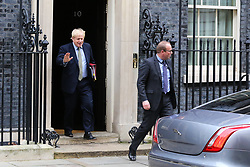 © Licensed to London News Pictures. 08/01/2020. London, UK. British Prime Minister BORIS JOHNSON departs from Number 10 Downing Street to attend Prime Minister's Questions (PMQs) in the House of Commons. Photo credit: Dinendra Haria/LNP