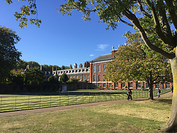 The front of Kensington Palace, where the tourists enter, Harry and Meghan's apartment is to the left, hidden from sight, the state rooms are furthest left. In May, the left side of the palace was dominated by white sheeting<br /> <br /> <br /> <br /> <br /> <br /> FULL TEXT SEND TO YOU VIA E-MAIL. PLEASE CHECK CAPTION FOR FURTHER INFORMATION PER IMAGE.